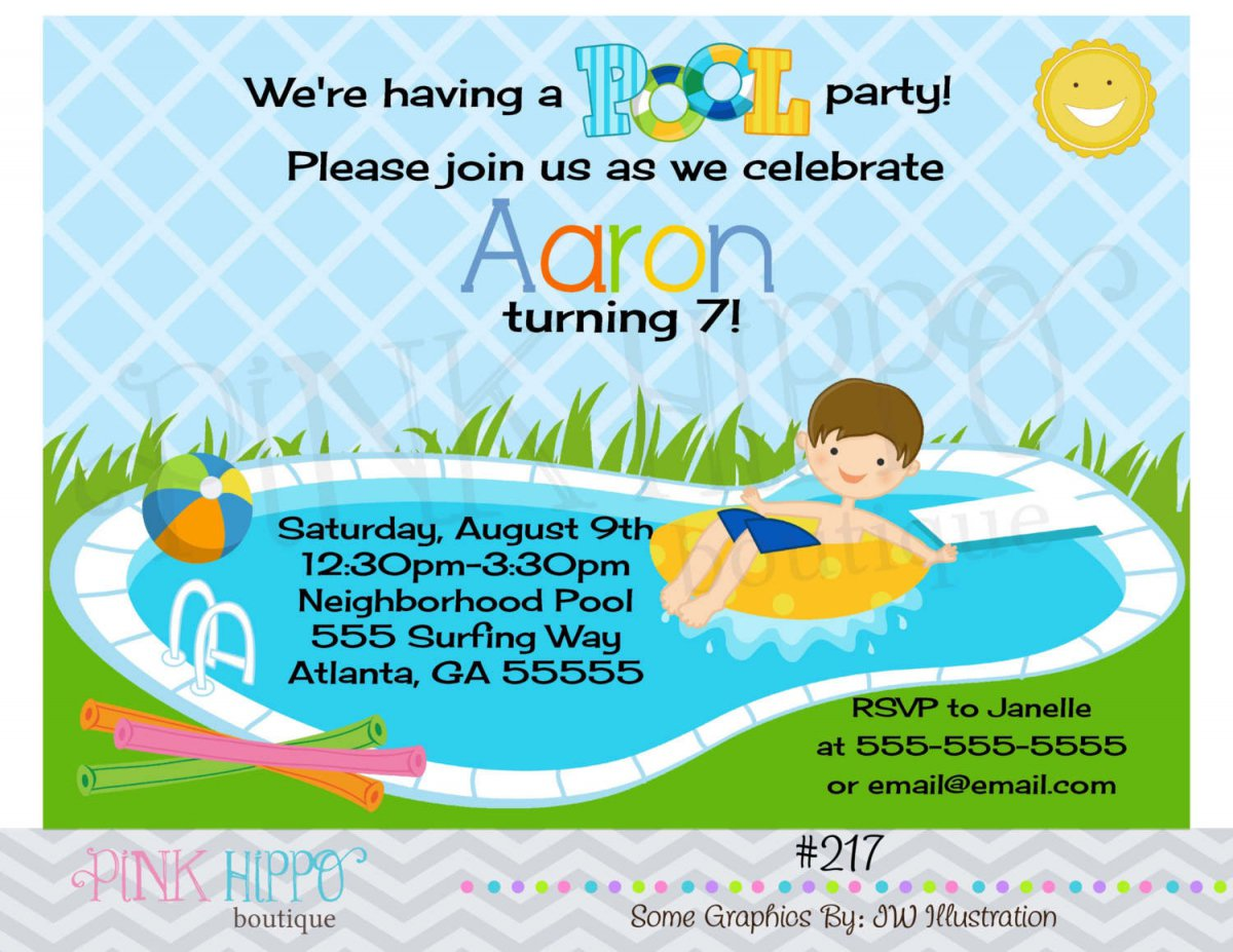Printable Swimming Party Invitations For Kids