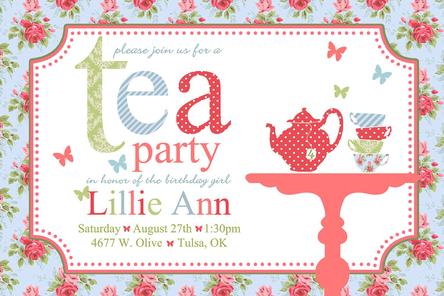 Printable Tea Party Birthday Invitations