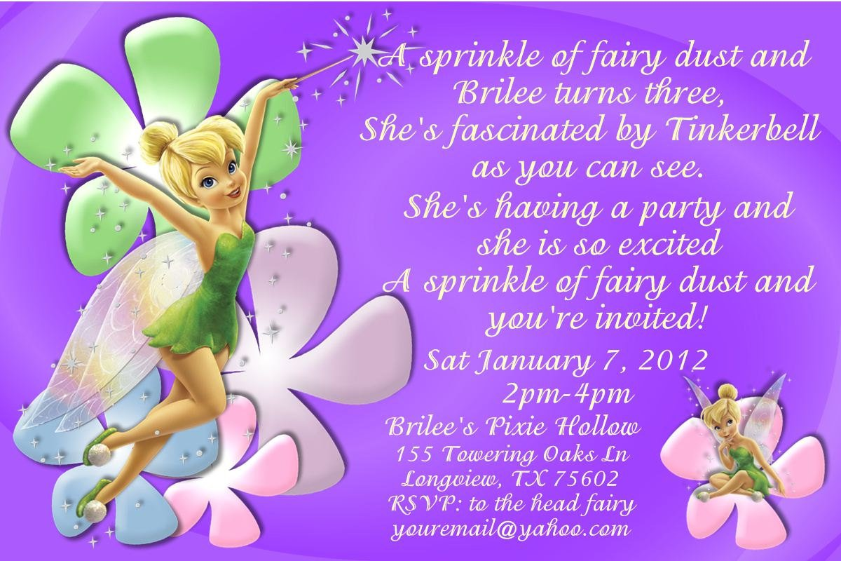 Free Printable Tinkerbell Birthday Party Invitations Tinkerbell