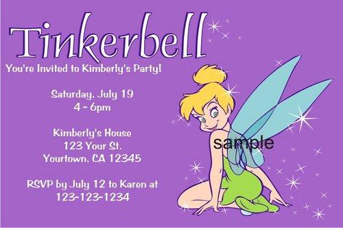 Printable Tinkerbell Invitation Cards