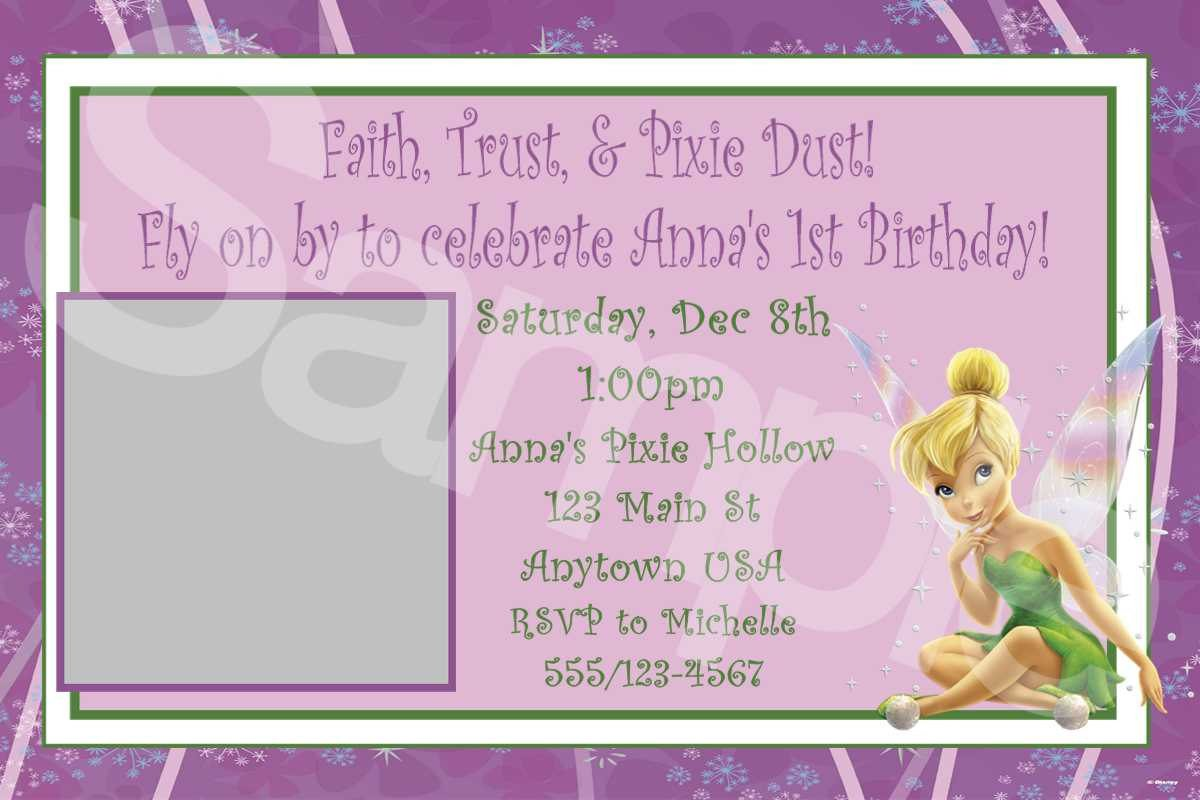 Printable Tinkerbell Invitations Birthday 2017