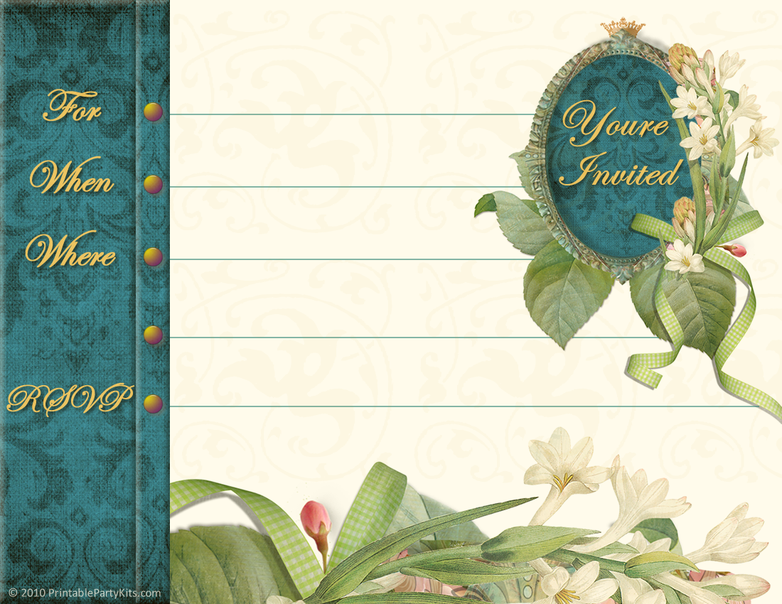 Printable Vintage Tea Party Invitations 2015