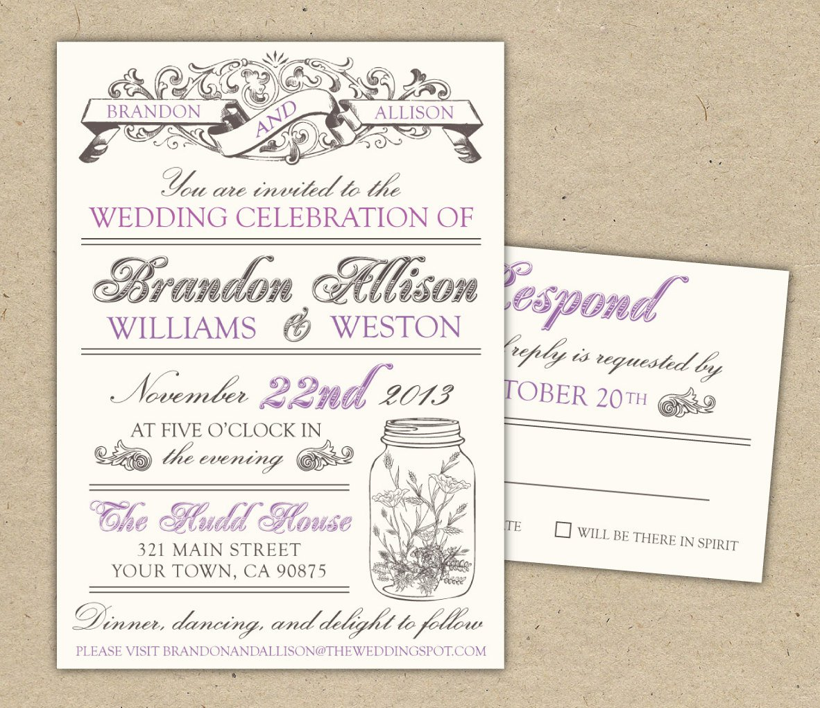 Printable Vintage Wedding Invitation Templates