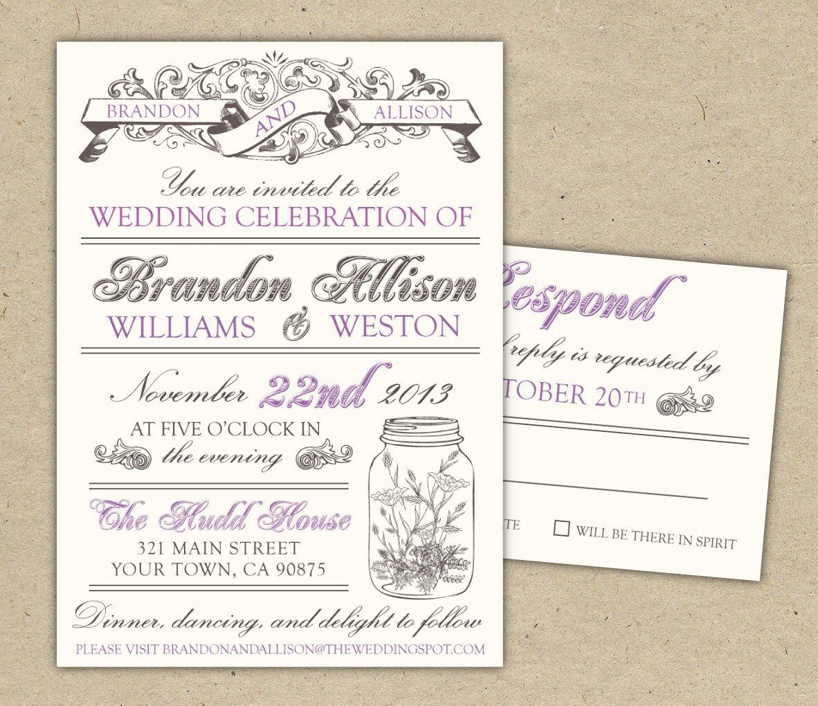Printable Wedding Invitation Templates Vintage