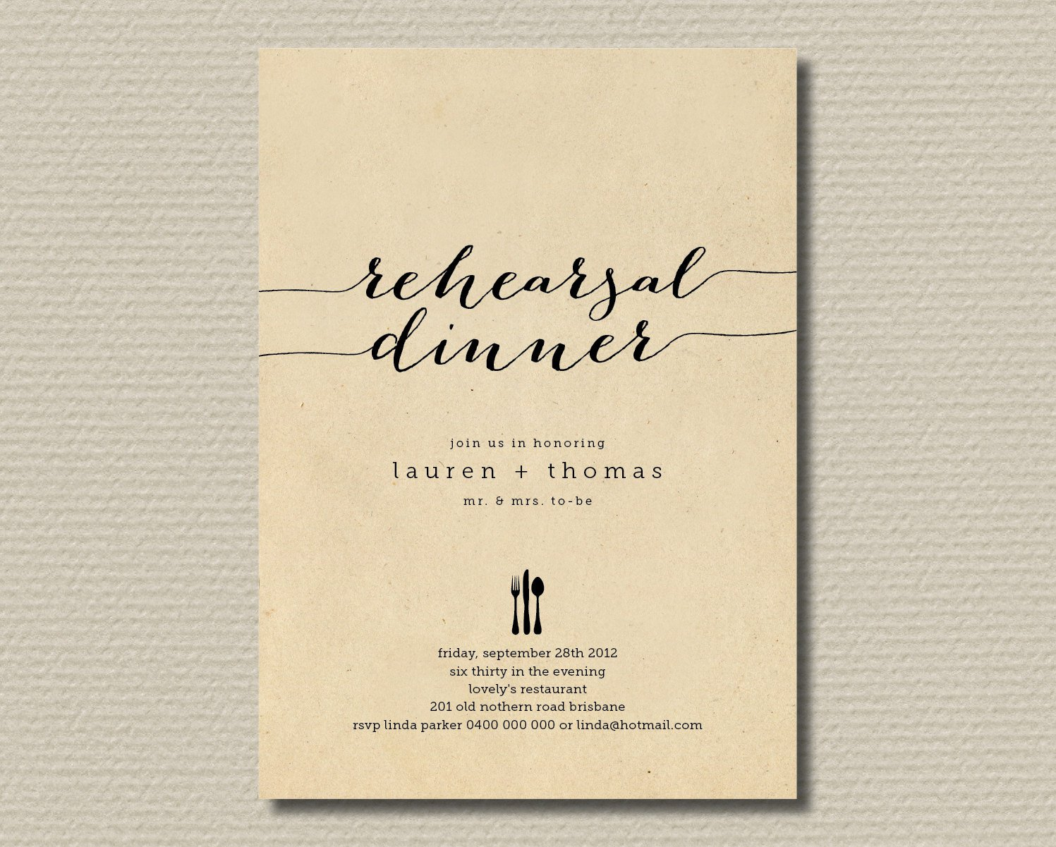 Printable Wedding Rehearsal Dinner Invitations