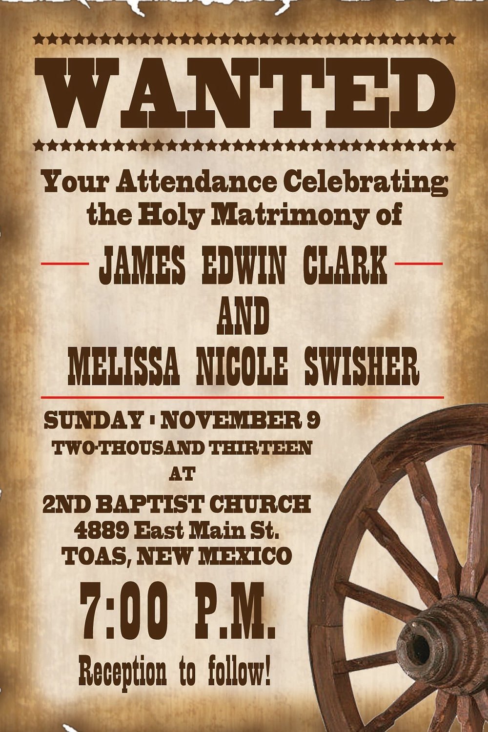 Printable Western Wedding Invitation Templates