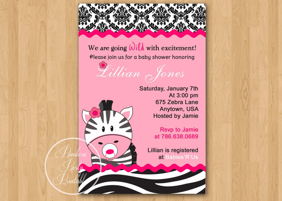 Printable Zebra Baby Shower Invitations