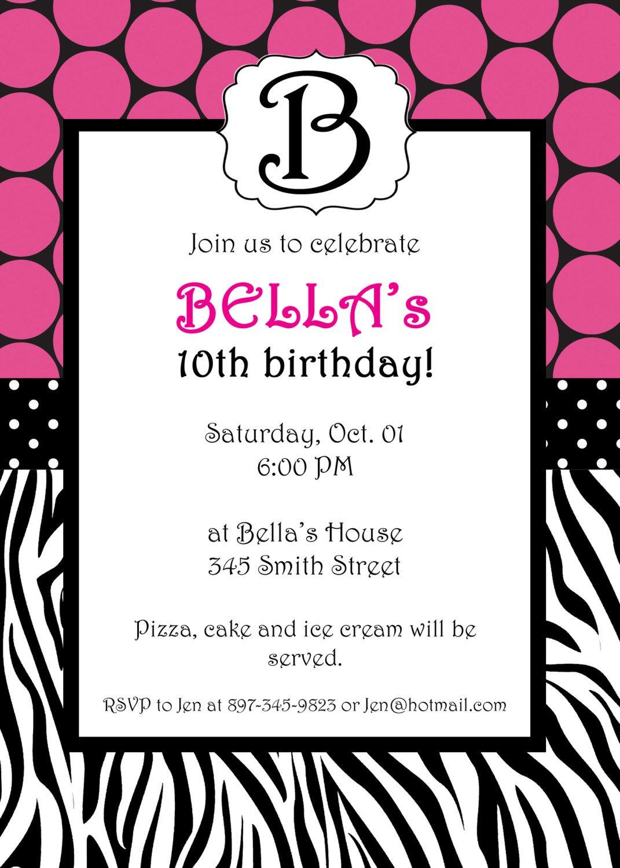 Printable Zebra Invitations
