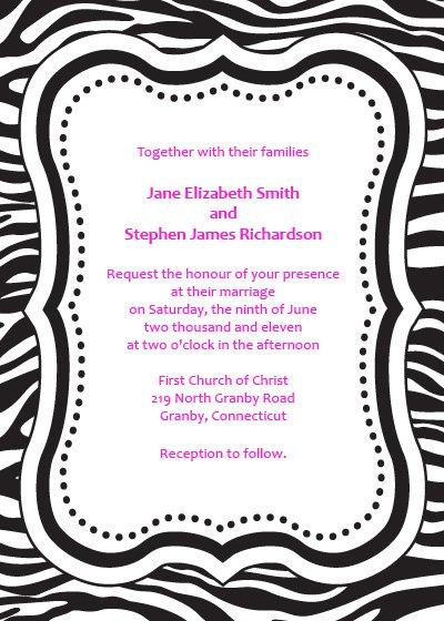 Printable Zebra Party Invitations