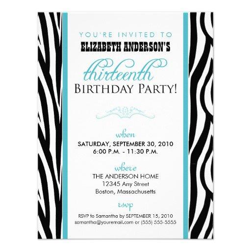Printable Zebra Print Birthday Invitations 2015