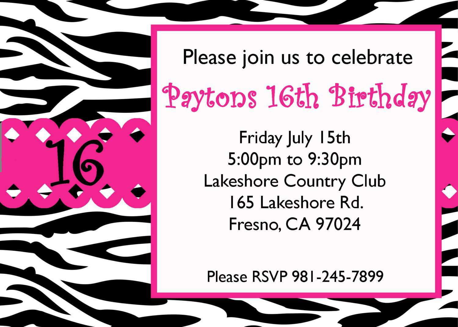 Printable Zebra Sweet 16 Invitations