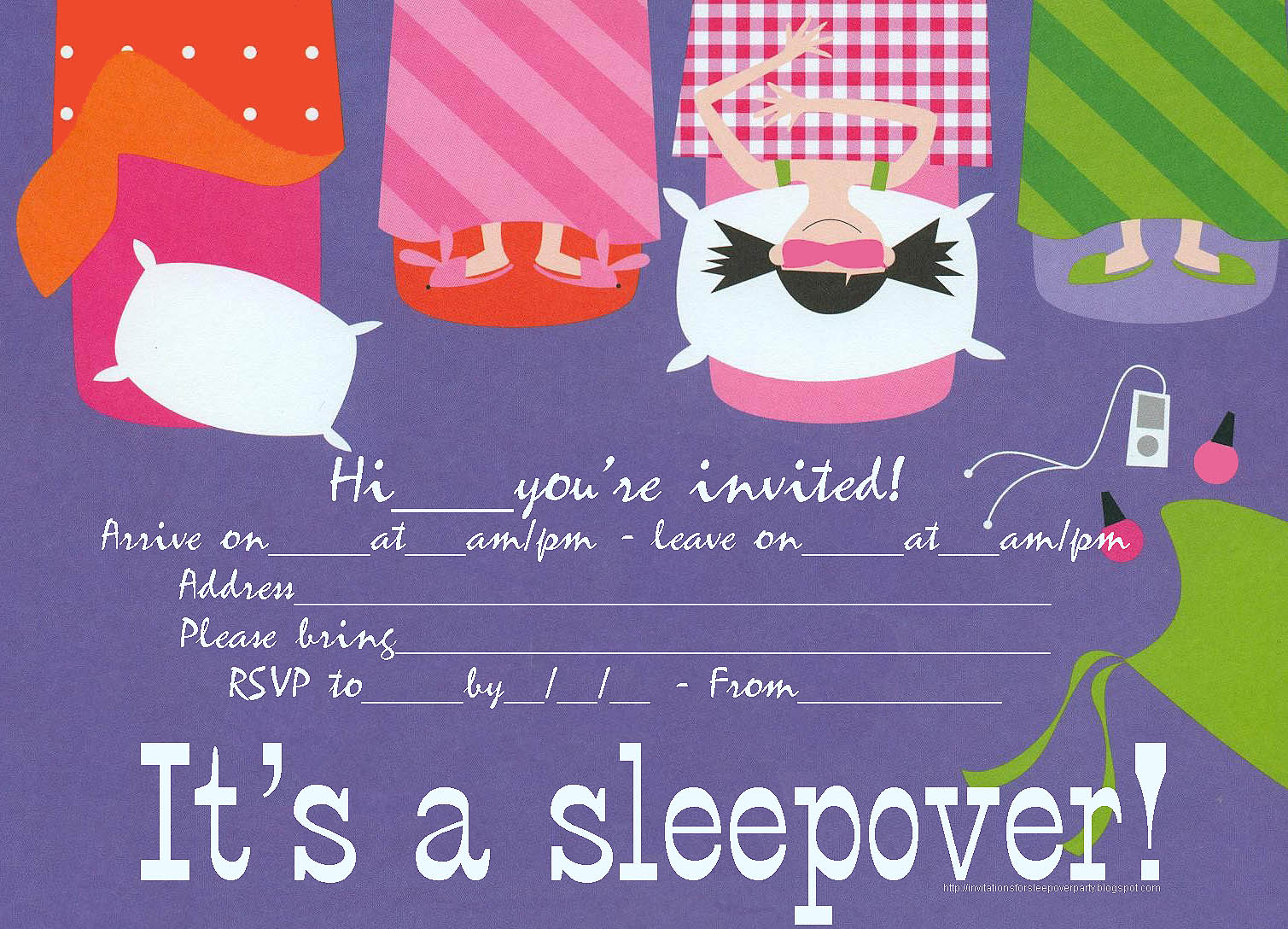 Slumber Party Invitations To Print Free