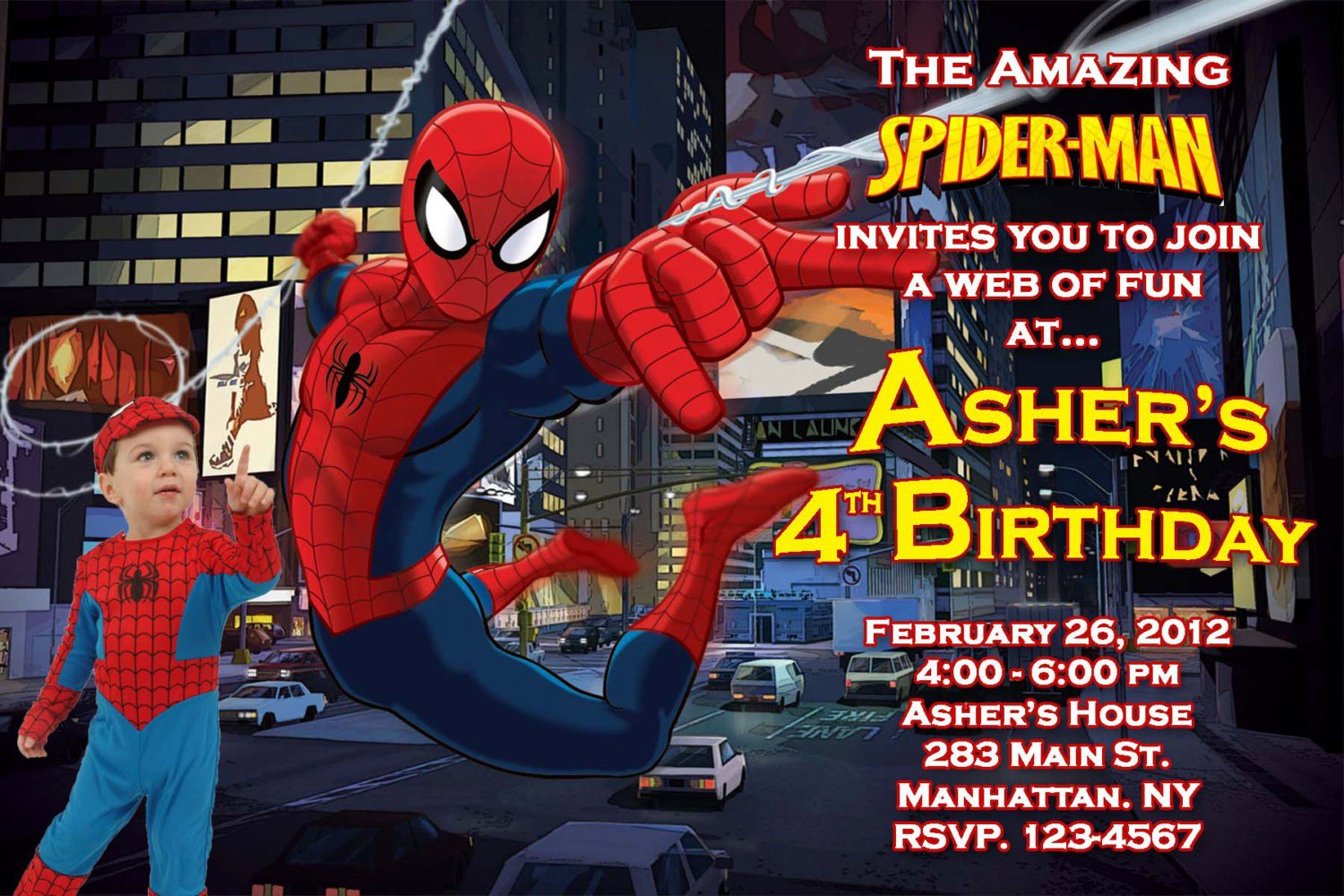 Spiderman Birthday Invitations Printable