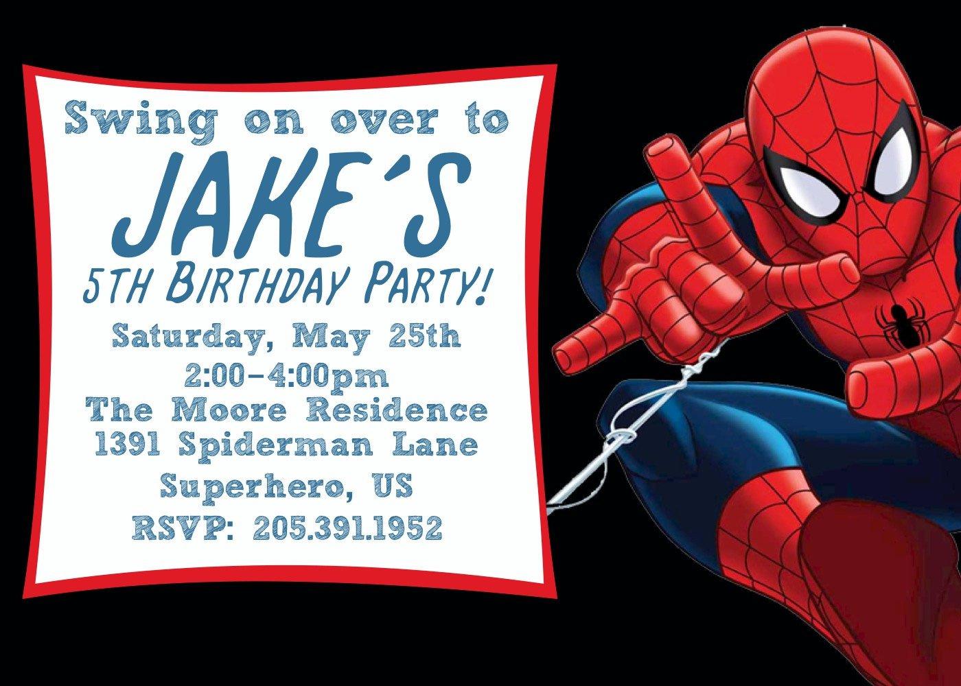 Spiderman Birthday Invitations Printable