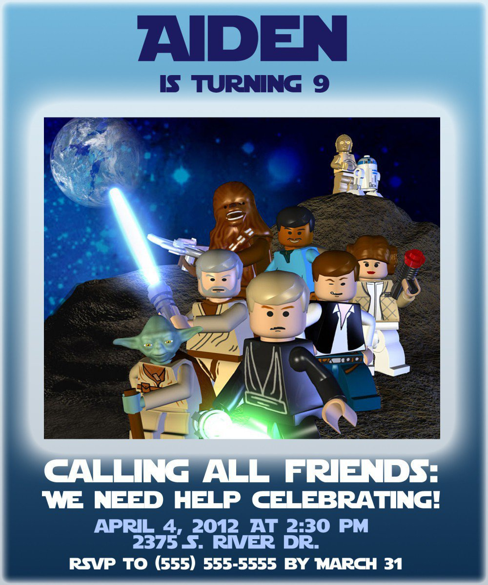 Star Wars Lego Birthday Invitations Printable Free