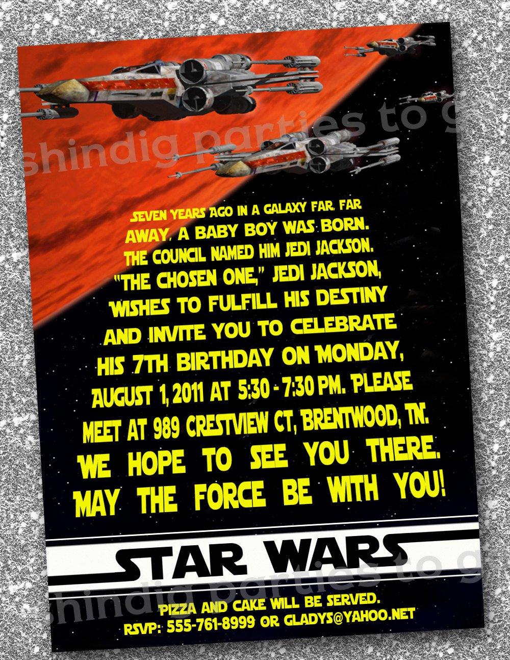Star Wars Printable Invitation Cards