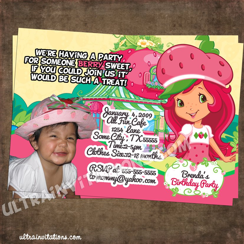 Strawberry Shortcake Party Invitations Printable 2017