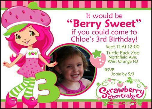 Strawberry Shortcake Party Invitations Printable