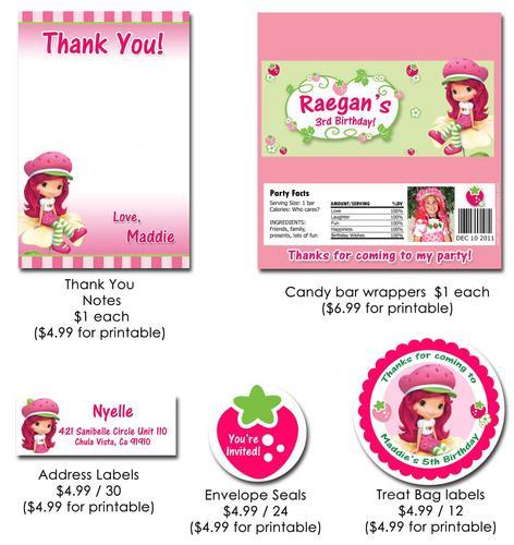 Strawberry Shortcake Printable Birthday Invitations 2016