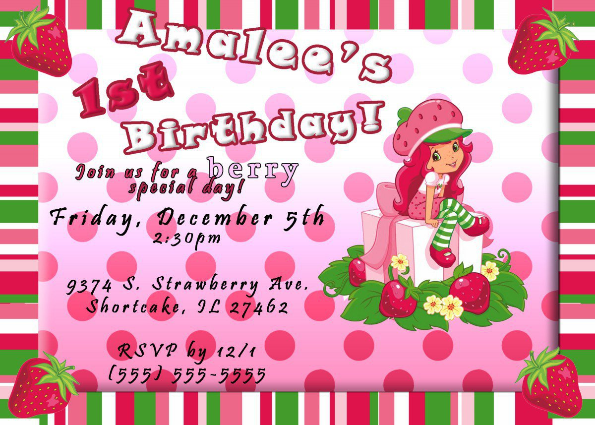 Strawberry Shortcake Printable Birthday Party Invitations