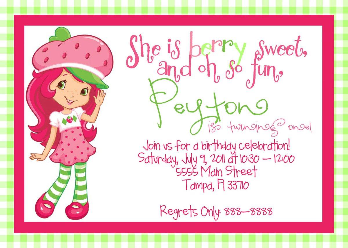 Strawberry Shortcake Printable Invitation Cards