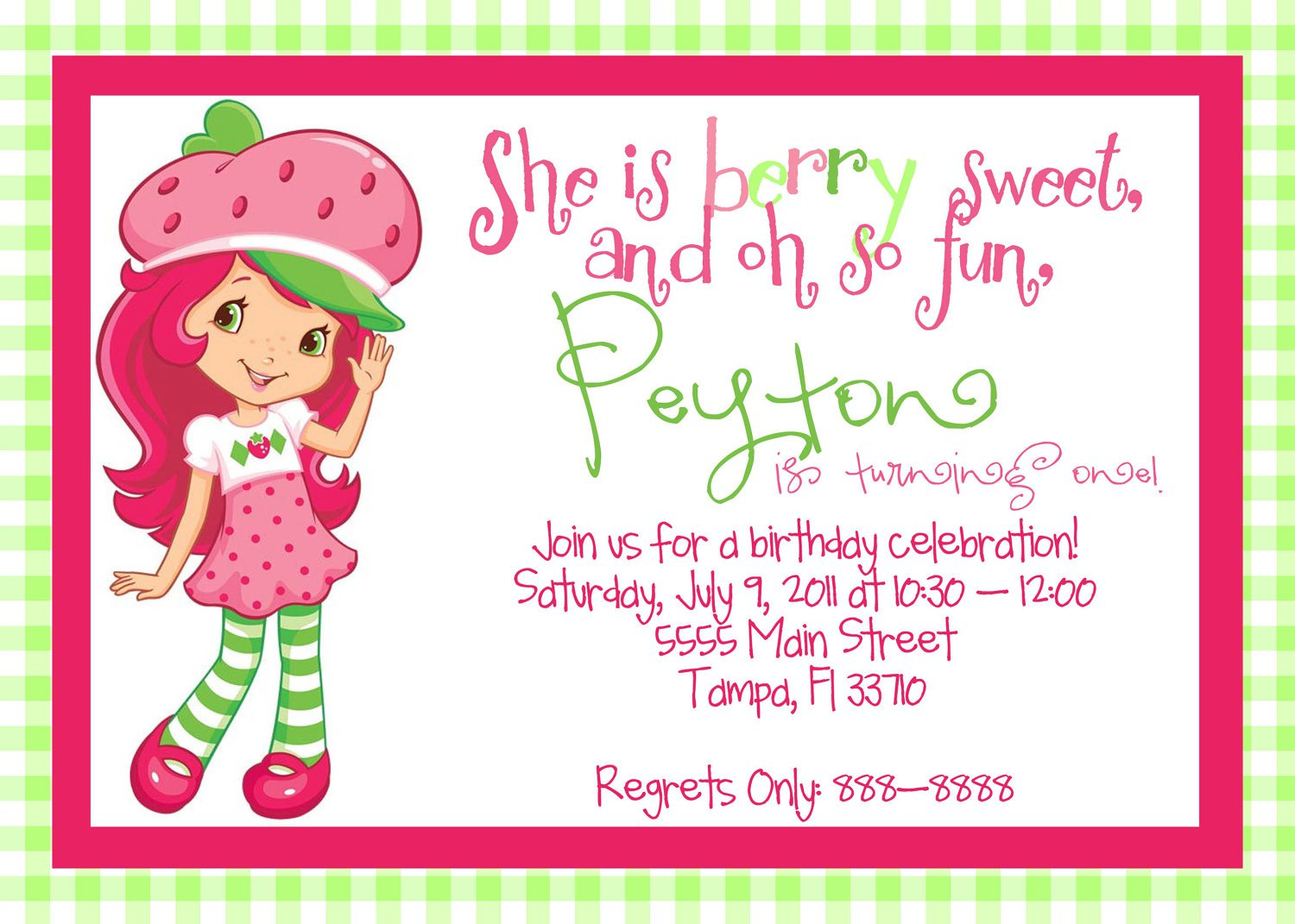 Strawberry Shortcake Printable Invitation Cards