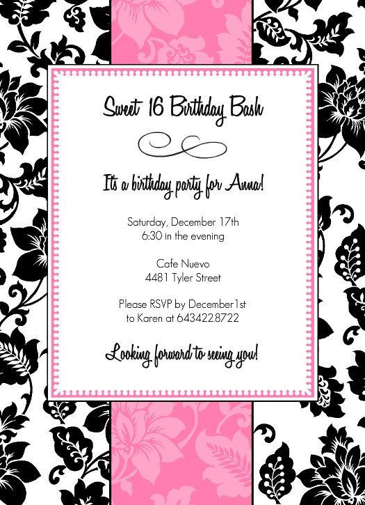 Sweet 16 Printable Birthday Invitations 2018