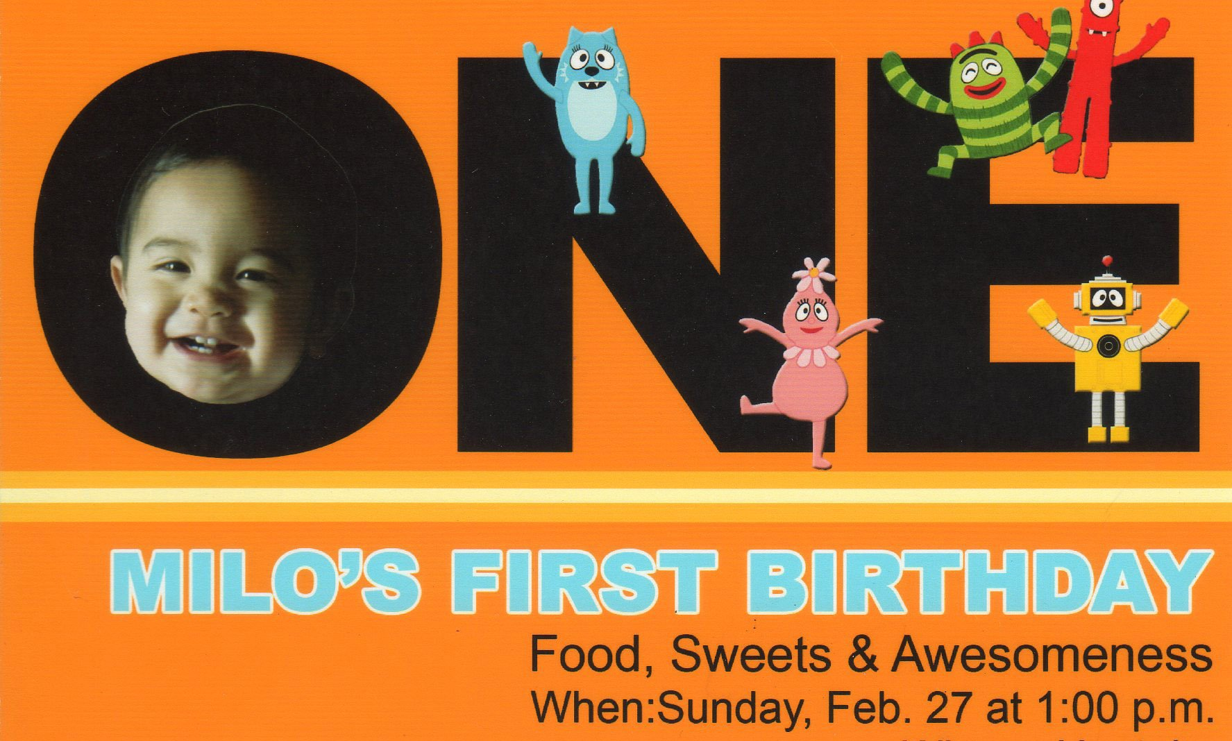 Yo Gabba Gabba 1st Birthday Invitations