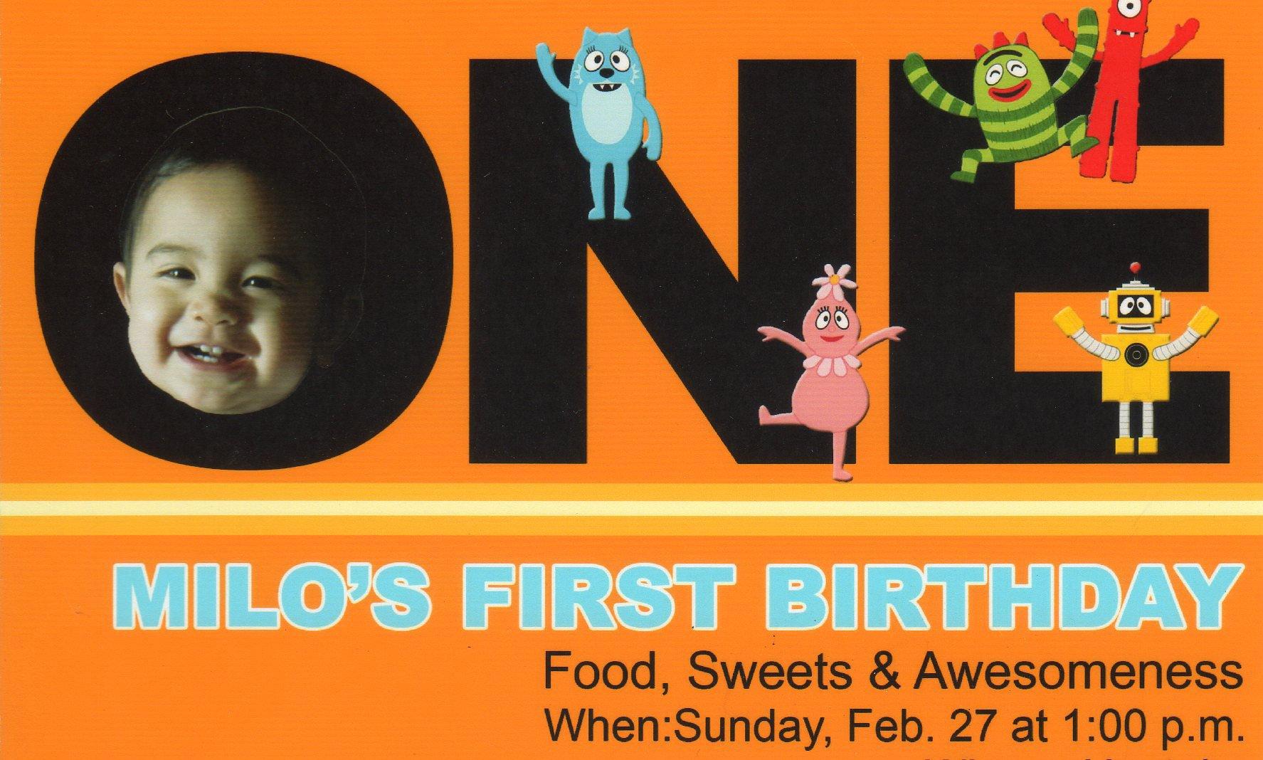 Yo Gabba Gabba 1st Birthday Invitations