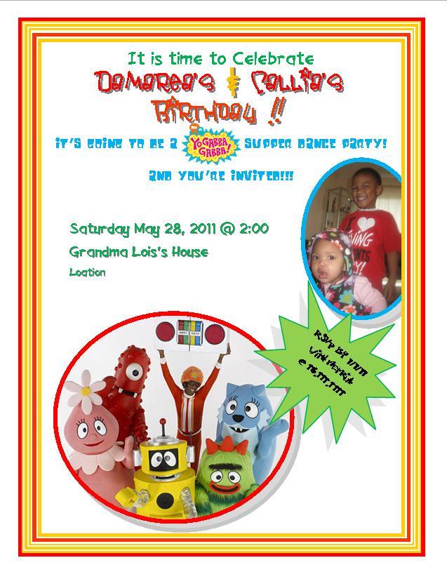 Yo Gabba Gabba Print Out Invitations