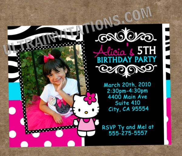 Zebra Print Hello Kitty Birthday Invitations 2016