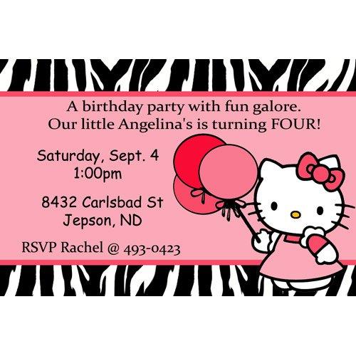 Zebra Print Hello Kitty Birthday Invitations