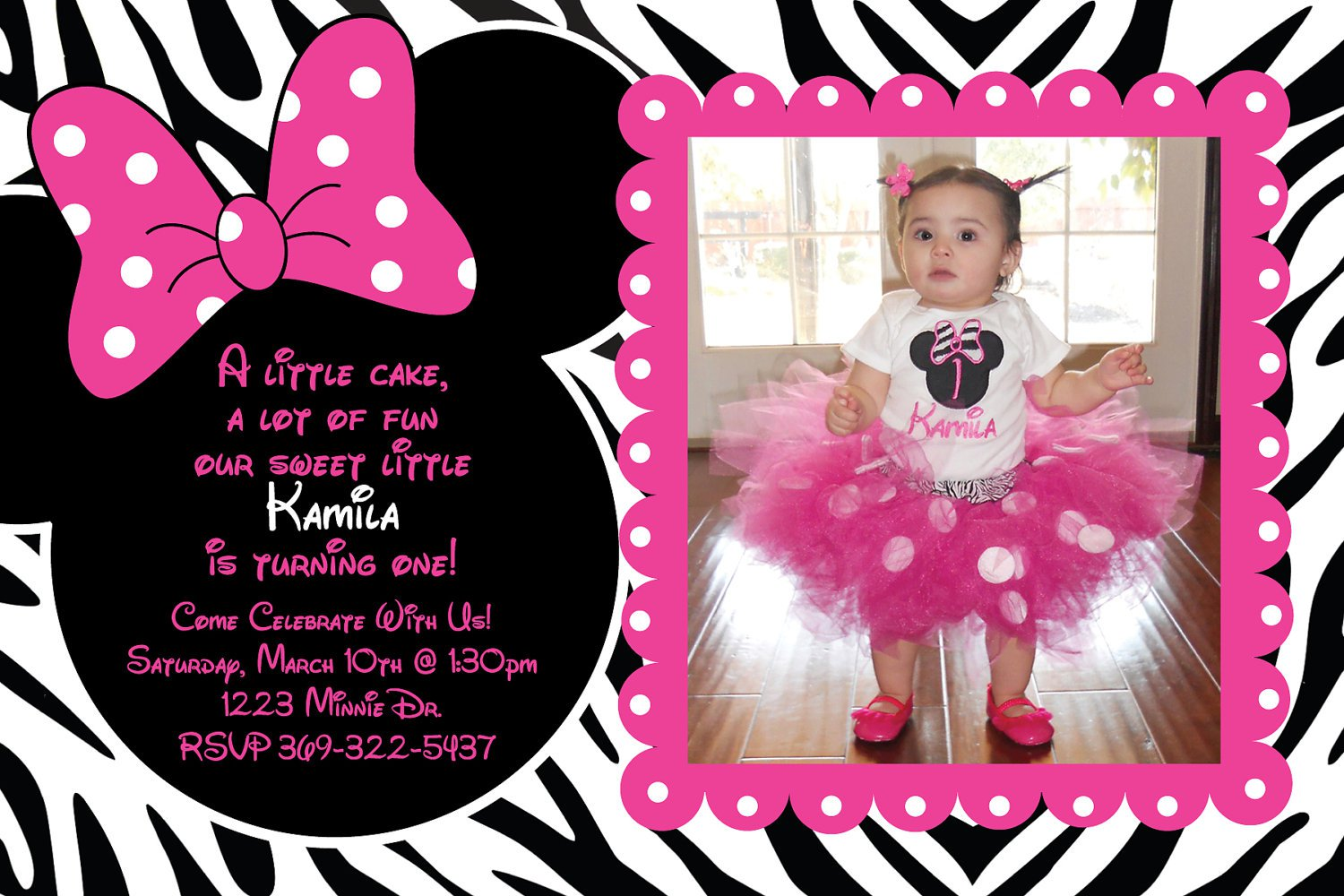 Zebra Print Minnie Mouse Birthday Invitations