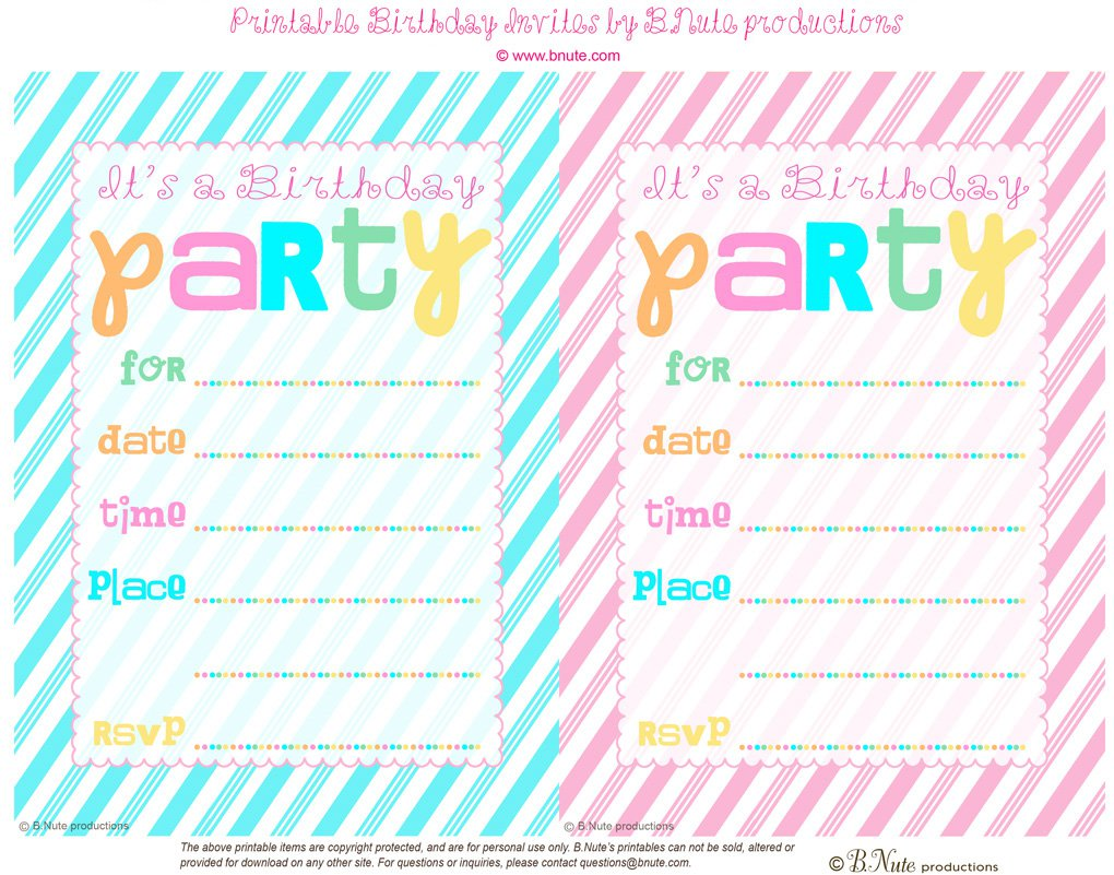 11 Year Old Girl Birthday Invitation Free Printable Cards