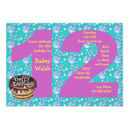 12 Year Old Birthday Invitations For Girls