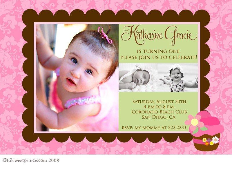 Girls 1st Birthday Cupcake Invitations