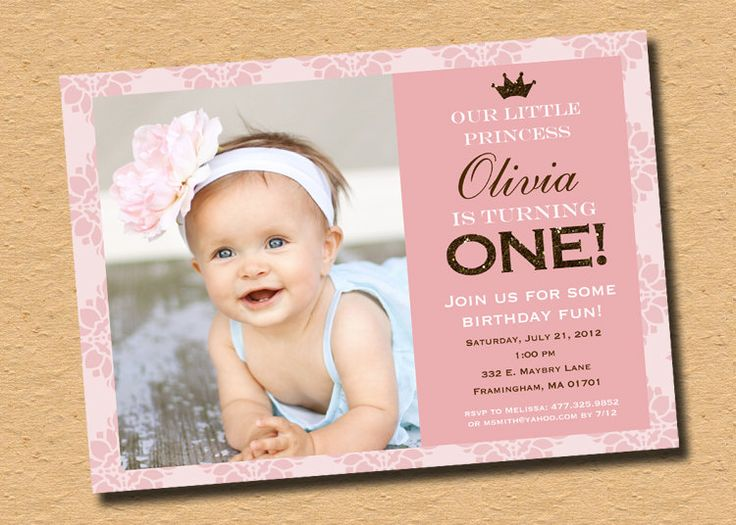 1st Birthday Princess Invitations With Photo