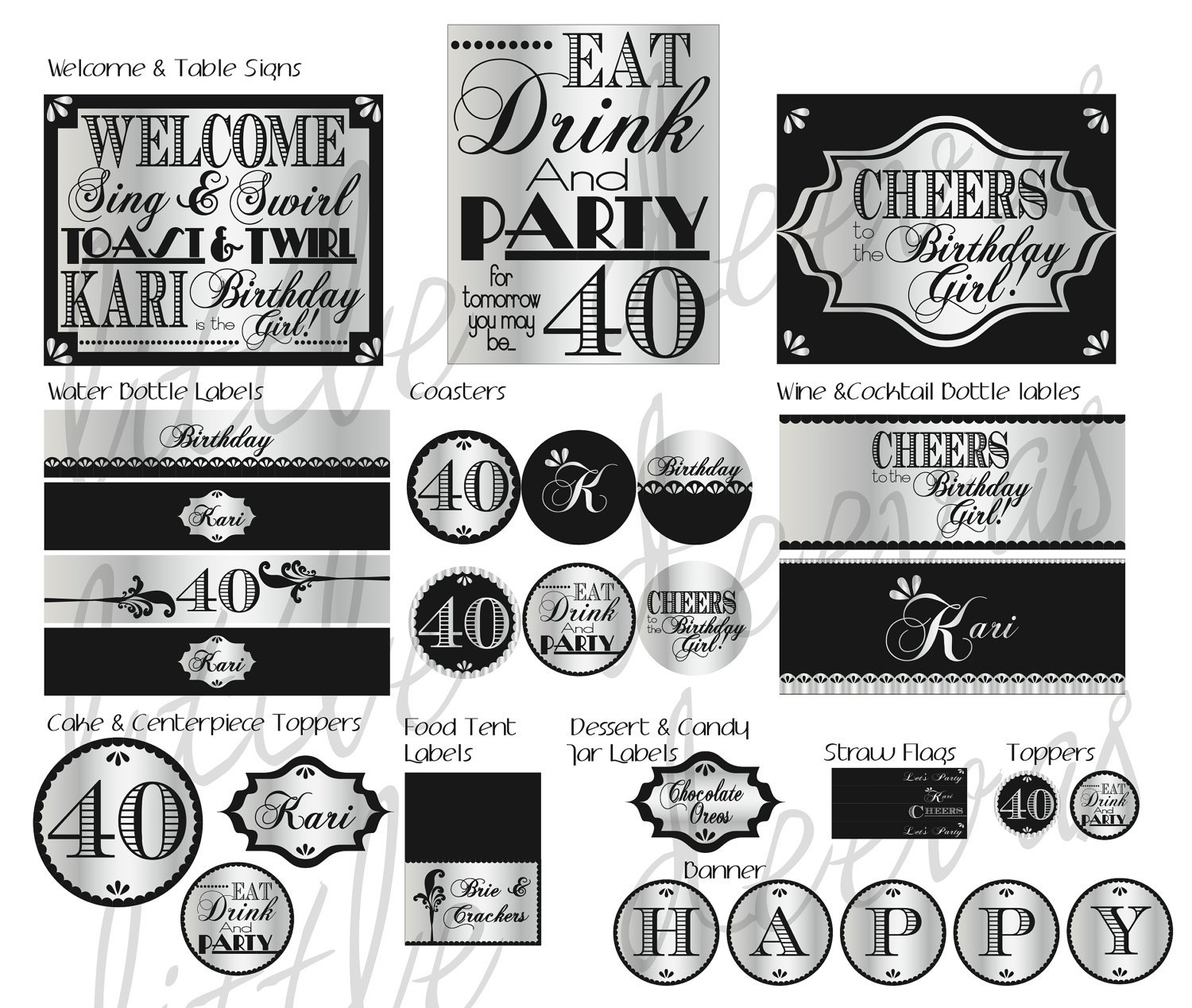 40th Birthday Free Printable Signs
