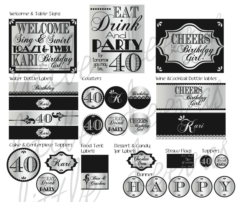 40th Birthday Printable Signs