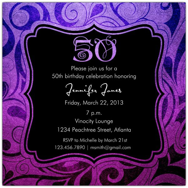 50th Birthday Party Invitations For Her