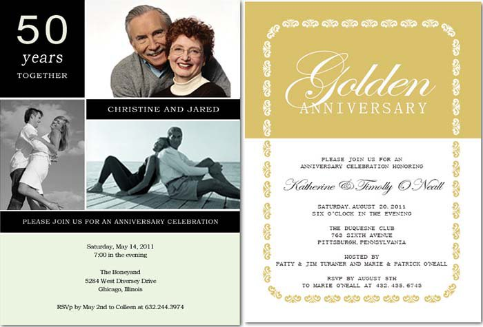 50th Wedding Anniversary Celebration Invitations