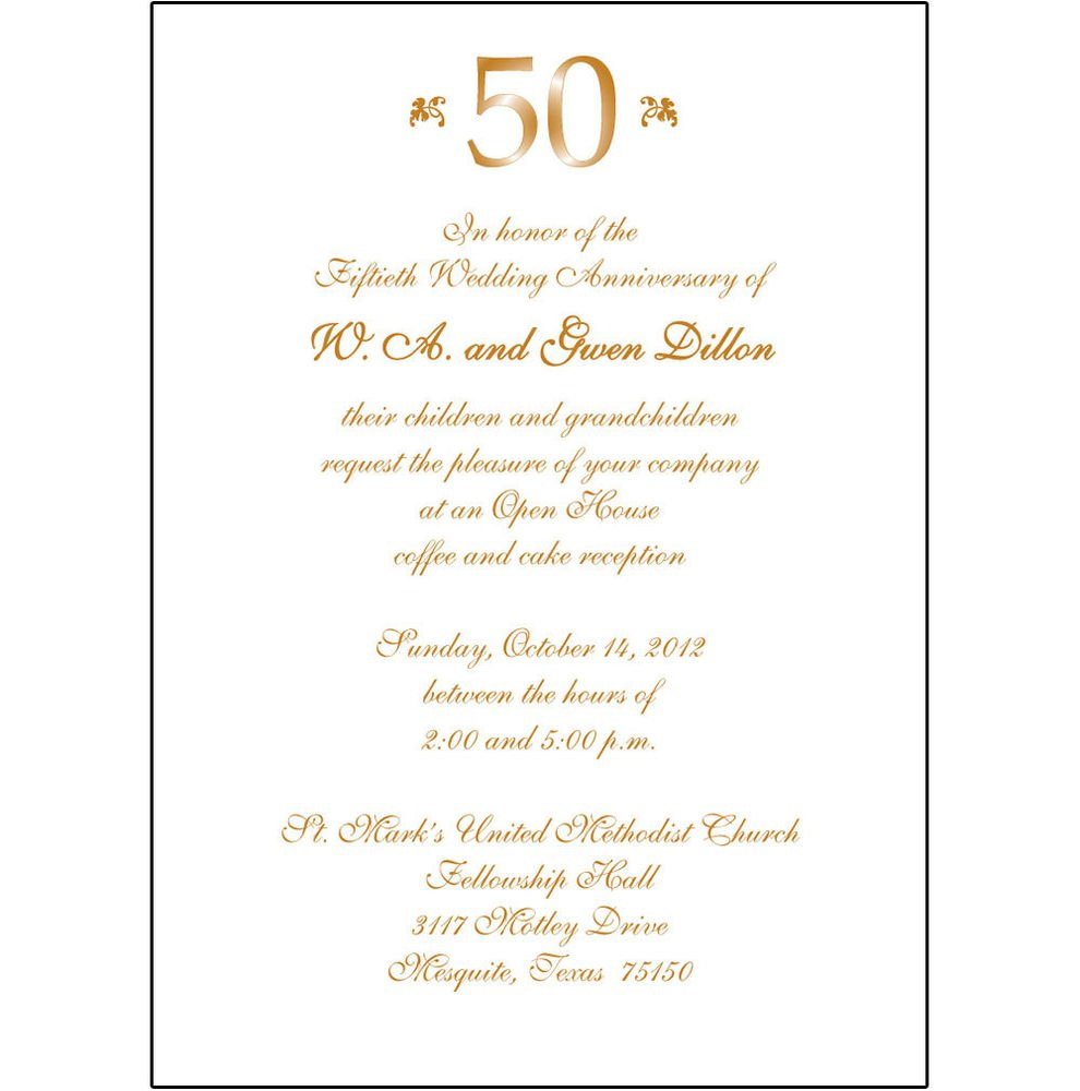 50th Wedding Anniversary Party Invitations Templates