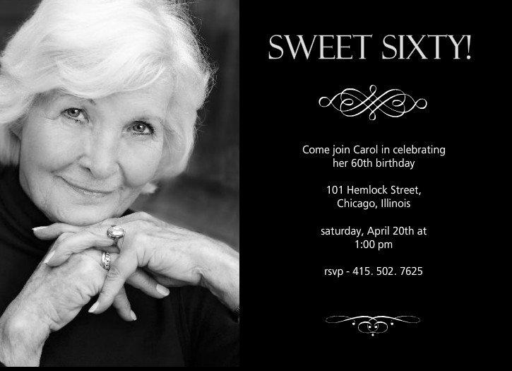 60th Birthday Card Invitation Wording