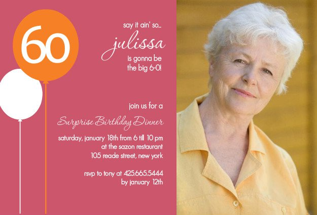 60th Birthday Invitation Card Templates Free