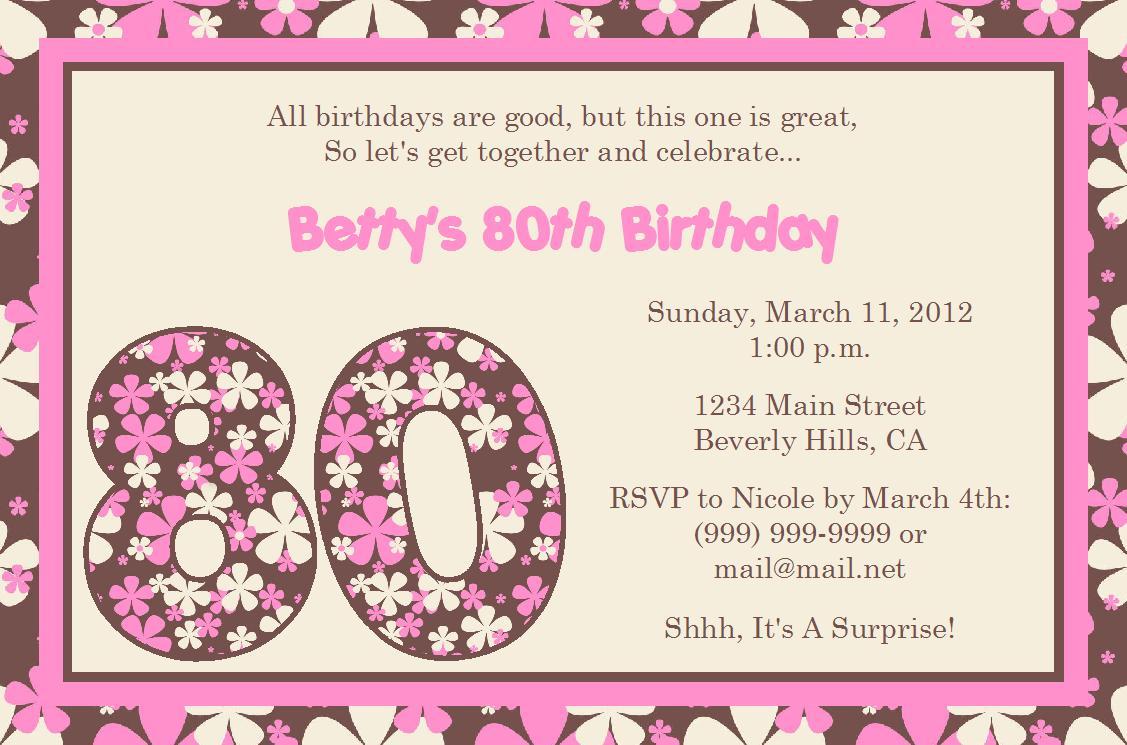 80th Birthday Invitations Free