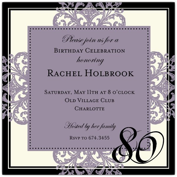 80th Birthday Invitations Free Template