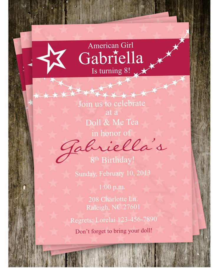 American Girl Birthday Party Invitation Ideas