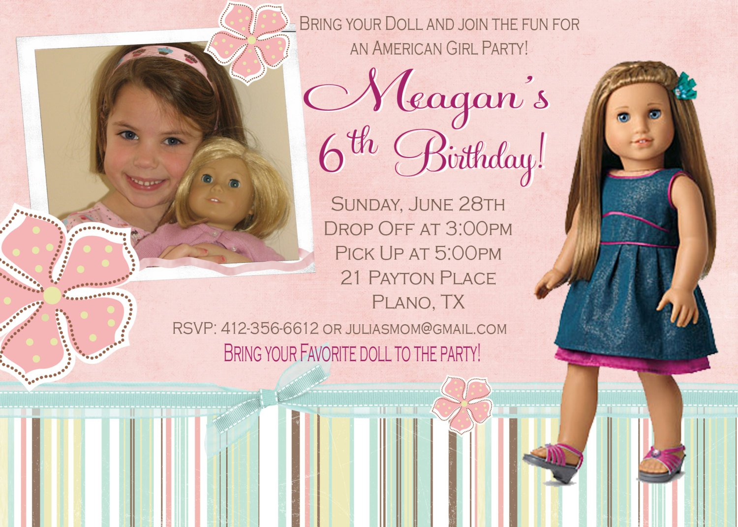 American Girl Birthday Party Invitation Wording