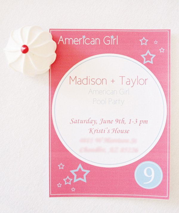 American Girl Birthday Party Invitations