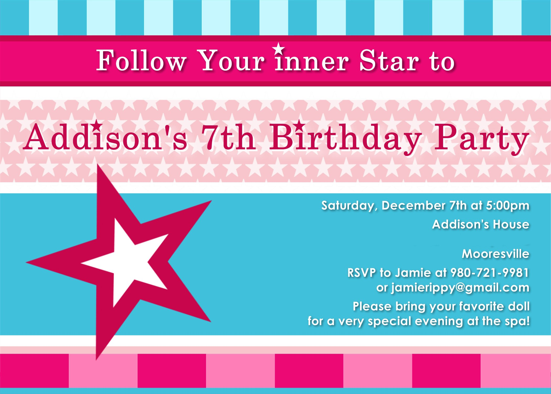 American Girl Birthday Party Invitations